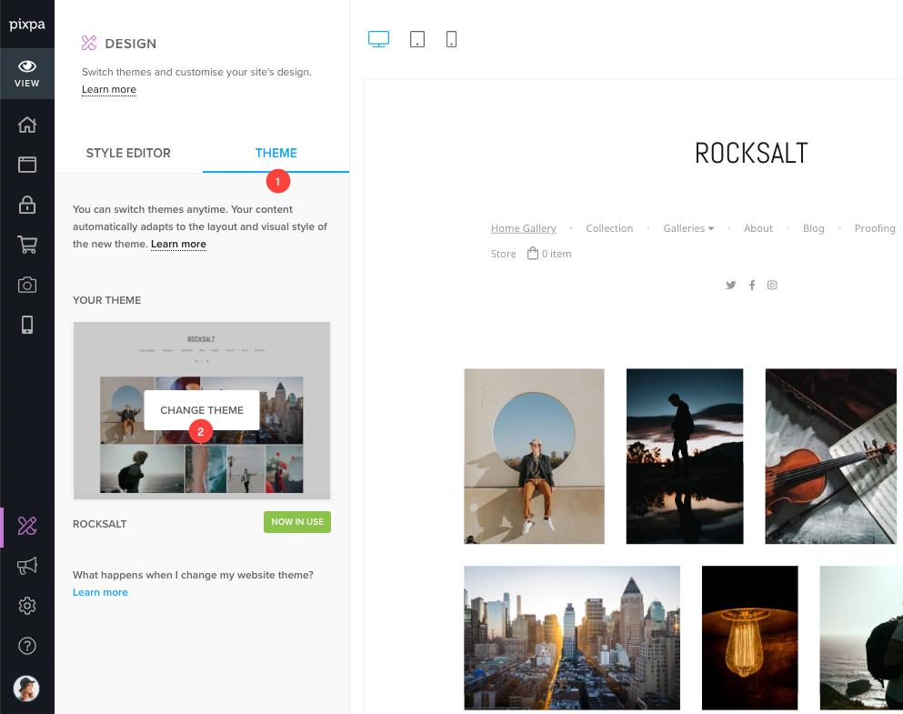 How to change website design theme — Pixpa Help