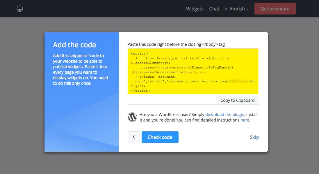 Add GetSiteControl widget to your website — Pixpa Help
